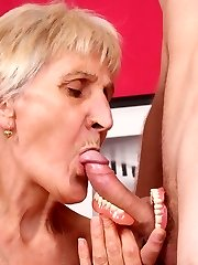 Naughty granny Irene removes her dentures to work a cock with her toothless blowjob and gets...
