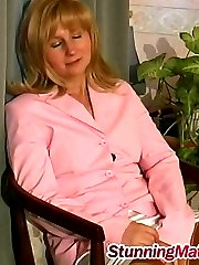 Nasty mom rubbing her crotch and getting to numbers game with a service man