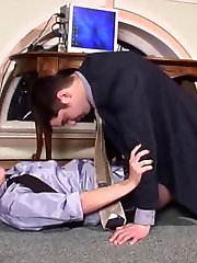 A guy hides under the table craving to feel pantyhosed feet around his rod
