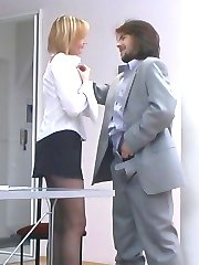 Red hot female co-worker in smooth tights holding working fucking meeting