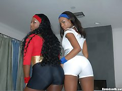 These 2 ebony hotties are showin us those phat asses in these hot oiled up photos