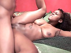 Kinky ebony babe Nikki Lane getting her tight pussy streched by a thick and long cock