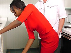 Sexy ebony girl with tight ass gets spanked in the kitchen