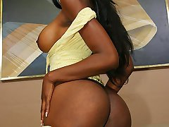 Big tit ebony slut slides her hairy pussy on a black meat pole