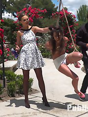 Part 1: Bondage Slut loves to be Tied Up in PublicCarolina Abril is a beautiful slut and ready to be tied up in tight rope bondage and swung around a crowded park. Stripped of her fancy clothes, this whore gets corporal punishment and humiliation. Finally cuffed to a street post, this public slut is shamed for all to see.Part 2: Public Slut knows how to work the crowdDragged to a crowded bar, Carolina is made to service the public. Deep throat cock sucking, Hard fucking, Lesbian Pussy Licking and squirting are all on the menu!