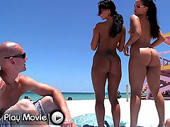 This week on assparade we congregated at the nude beach here in Miami. Joining me on the wild sexual adventure was the super fine Ava Addams and Mega booty Miss Raquel.