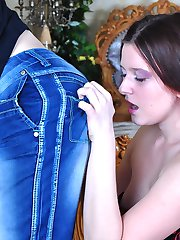 Corseted hussy playfully bites the ass of her boy before using her strapon