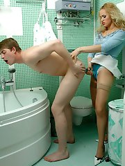Strap-on armed blondie knowing how to make a guy moan from wild pleasure