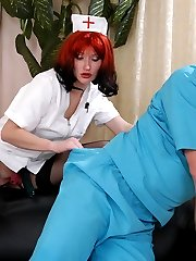 Strap-on armed nurse working doctors tight banghole to the best advantage