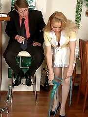 Lascivious French maid trying various positions strap-on fucking eager guy