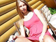 Pantieless girl lifting the skirt up