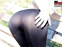 Hot tease with skin tight jeans butt