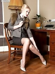 Tegan having some sexy fun stripping down to open bottom girdle and vintage nylons!