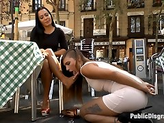 Hot slut Camil is dragged around town by sexy Sandra Romain. Shes humiliated with her tits out...