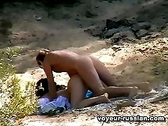 Horny nudist brunette getsher moist twat pounded from behind in the bushes