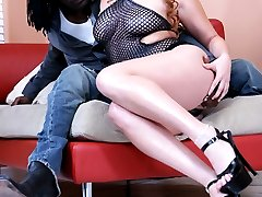 Redhead on big black dick