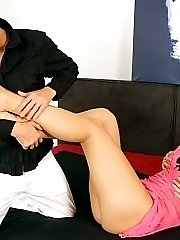 Hot cum on her feet