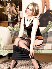 Anna loves vintage and really gets off stripping out of her classic blouse and skin tight pencil...