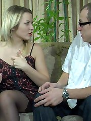 Sultry chick in black pantyhose welcomes a hung guy up her soaking pussy