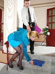 Lascivious secretary in black tights getting her twat fingered and ploughed
