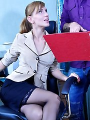 Nasty office babe in raunchy black nylons exchanges her toy for a real cock