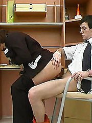 Full mature businesswoman mounts young hunks dick for reverse cowgirl ride