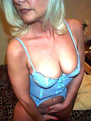 sexy mature in blue lingerie