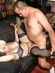 Blonde milf Gina De Palma takes cock stuffing in her mouth and spreading her legs wide to take...