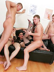 This mom looks sexy in black nylons and 4 younger guys enjoy gangbanging her to the fullest