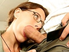 Bushy pussy gets slammed in this office fuck fest
