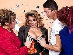 Three mature ladies sharing one hard cock