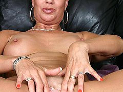 Big tits GILF Vanessa Videl spreading her aged pussy and stuffing her wrinkled face with a big...