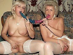 Horny elderly women Francesca and Erlene in sexy stockings cramming their holes with sex toys