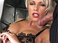 Office boss Leggy Lana takes a hot sticky facial from a business man while shes fully clothed in...