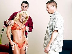 Blond beauty holds hand of husband as she gets pounded