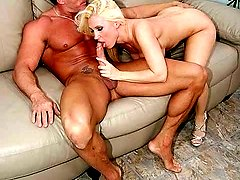 Hot blonde wife gets cock reemed on the sofa while her hubby looks on