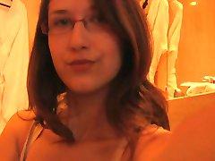 Cute nerd girl tease