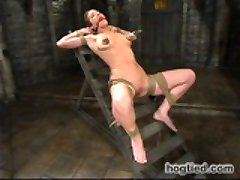 Gabby is back and looking hot as fuck! She is put straight into bondage and made helpless for the rest of the day. we showcase her amazing body in several different ways, but make sure to exploit her weaknesses all day. She is subjected to bastinado, punching, pussy torment, flogging, and clamps. Every hole is fucked hard and she begs for more; torment , pleasure, and pain.