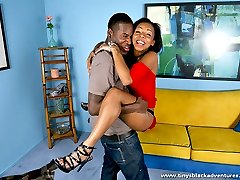 Black hottie gets schtupped hard by a well hung black stud