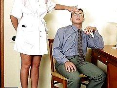 Horny blonde milf caresses tired businessman