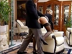 Office bitch in stocking slammed doggy by horny boss