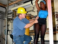Black girl in seamless pantyhose tied by pervert man