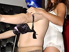 Nylon Jane dresses up her sissy in pantyhose and lingerie, and then uses her special nylon...