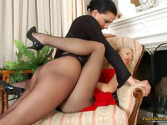 French maid in elegant black pantyhose forced into hot girl-on-girl action