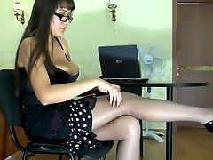 Bigtitted teacher in glasses flashes her box thru fine shiny grey pantyhose