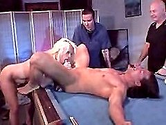 Slutty older blonde spreading wide on the pool table for a cunt lapping