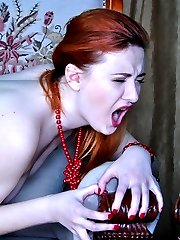 Hot redhead gets groped and dicked in her expensive colored fashion tights
