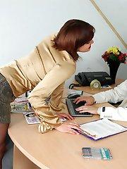 Nasty secretary in black hose getting to facesitting punishing disloyal guy