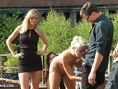 Layla Pryce is one fucked up slut. Unable to find someone to publicly humiliate, punish and fuck her in her personal life, Layla keeps cuming back to Public Disgrace to get her filthy fantasies fulfilled. Today Layla submits her fat ass to Mona Wales and Juliette March to use and abuse.  These two tops are not impressed by Laylas slutty clothing choices and stupid seductress walk.  To punish her for being such a filthy whore Juliette and Mona strip Layla barefoot and naked in the streets of Berlin.  After stuffing Laylas whore mouth full with her own stinky socks, Juliette and Mona laugh at Layla as she continually fails to give her panties to strangers on the street.  You can see the embarrassment on Laylas face as men look at her exposed pussy in disgust as she begs them to take her filthy panties.  After Laylas epic failure to give away her clothes.  Mona and Juliette take Layla to an abandoned warehouse courtyard where they trick her ass out on a used up mattress.  Opening her holes to any strange cock with a Euro to spare.  Once this cheap whore has serviced all the men that are willing to put their cocks in such a filthy slut.  Mona and Juliette bend Layla over and fist her asshole in front of an excited crowd.  Another Public Disgrace fantasy successfully fulfilled.