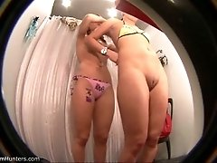 Two chicks get caught on the fitting room spy camera